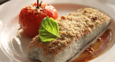 Sweet almond and onion encrusted grouper