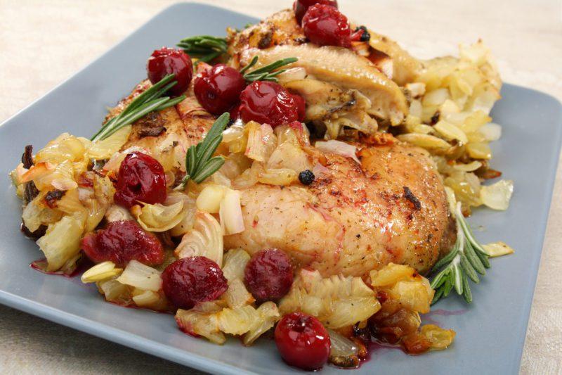 Cherry chicken with rosemary