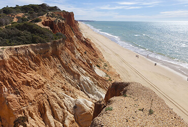 Large sandy beach with a clay coloured cliff edge