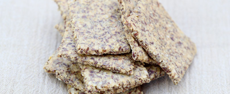 Stack of flaxseed crackers