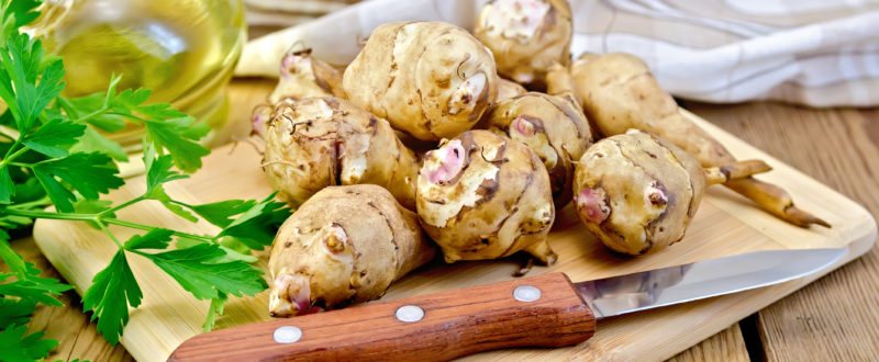 Whole tubers of Jerusalem artichoke with parsley, knife, napkin, oil on wooden board