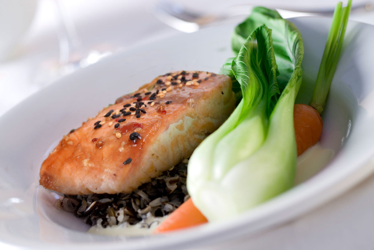 Teriyaki salmon served with pak choi