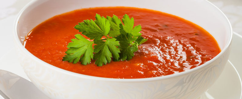 Fresh tomato soup with parsley