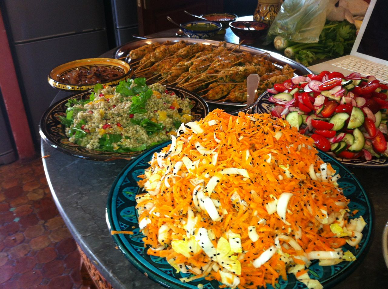 Table full of colourful food for an inspa lunch buffet