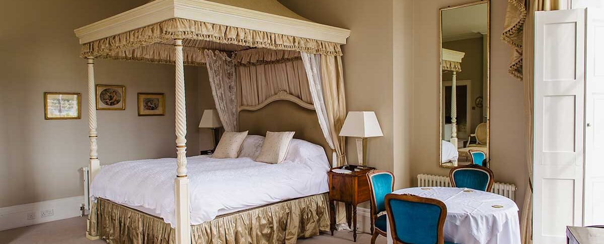 North Cadbury Court Balcony Room with Four Poster Bed